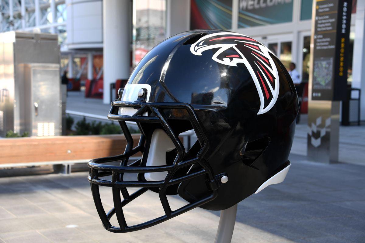 A general view of an Atlanta Falcons football helmet sculpture display prior to Super Bowl LI.