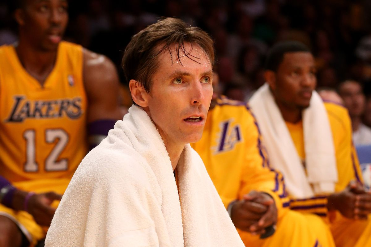 After 50 minutes of Laker action, this may be the bench position Nash may be in for a while.