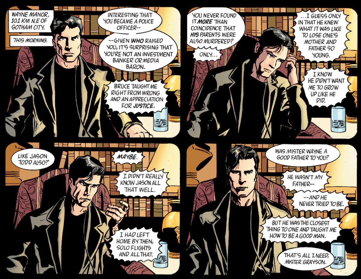 """""""He wasn't my father, and he never tried to be. But he was the closest thing to one and taught me how to be a good man,"""" Dick Grayson says to a social worker in Gotham Knights #45, DC Comics (2003.)"""