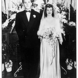Newlyweds Tom and Frances Monson at their wedding reception in Oct. 1948.