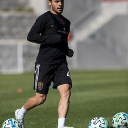 Real Salt Lake's Justin Portillo trains during the first day of voluntary individual training at the RSL Academy on Thursday, May 7, 2020.