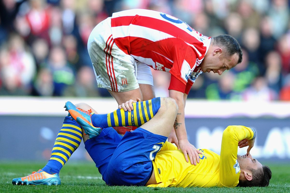 it's unclear whether this was the first, second, or twentieth time Charlie Adam stomped on Olivier Giroud