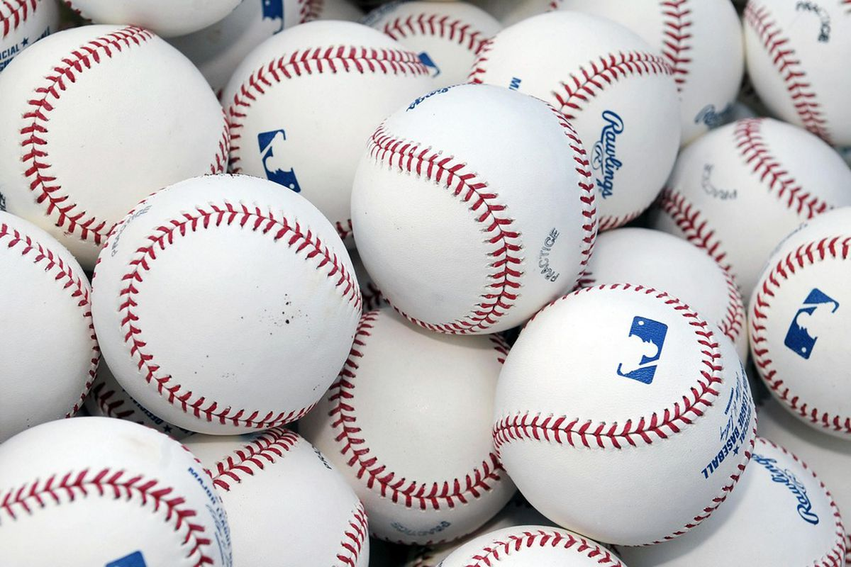 June 6, 2012; Washington, D.C., USA; General view of baseballs during batting practice prior to a game between the New York Mets and the Washington Nationals at Nationals Park. Mandatory Credit: Joy R. Absalon-US PRESSWIRE