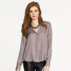 "Silk blouse in light gray, $99 at <a href=""http://www.shopsixtwenty.com/classix/100-silk-blouse-207.html"">Six Twenty</a>"