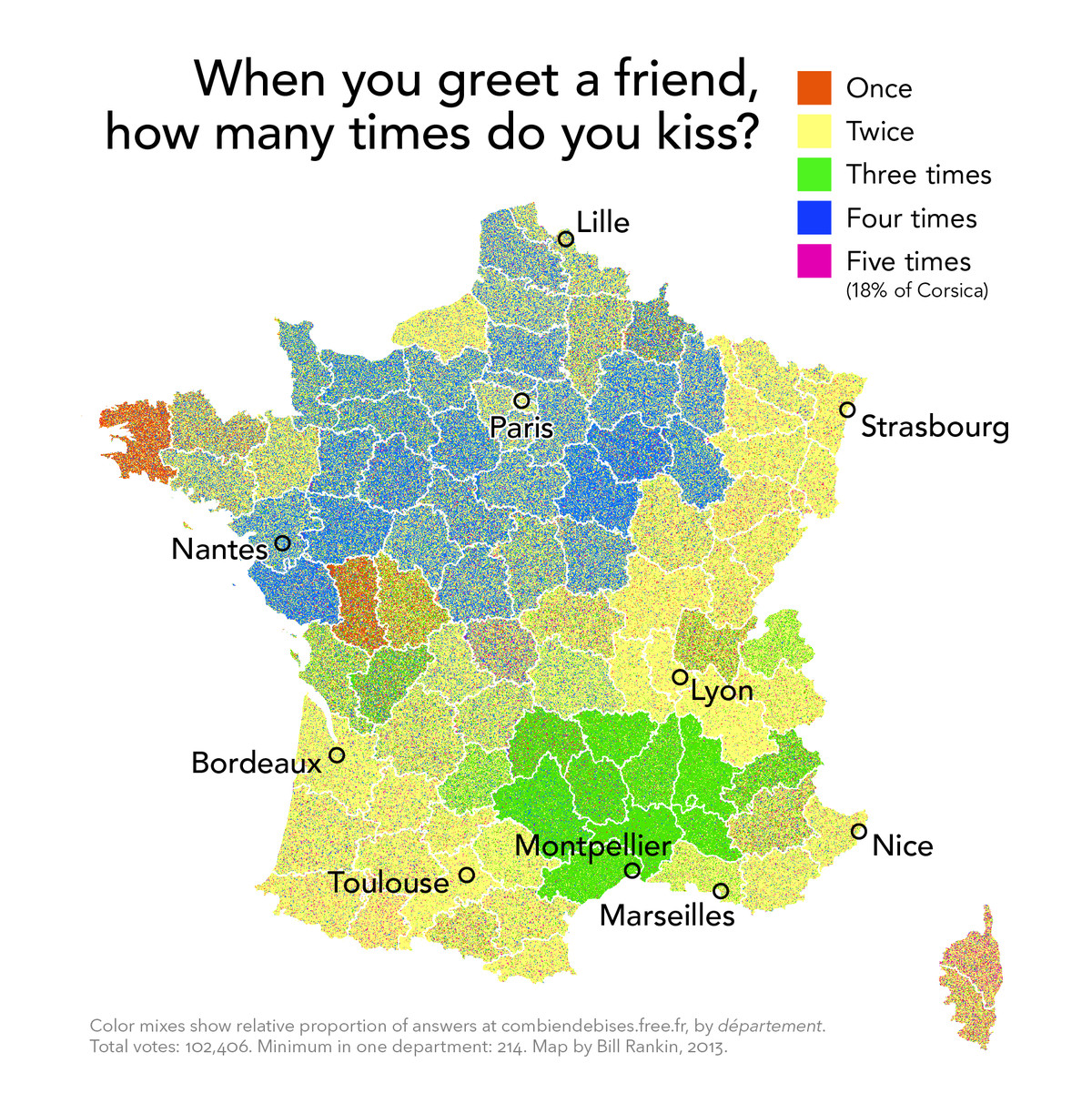 the propensity of cheek based kisses in france mapped