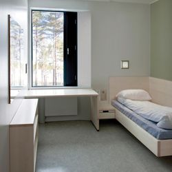 """A """"cell"""" at Norway's maximum security Halden Prison, widely thought to be the most humane prison in the world."""