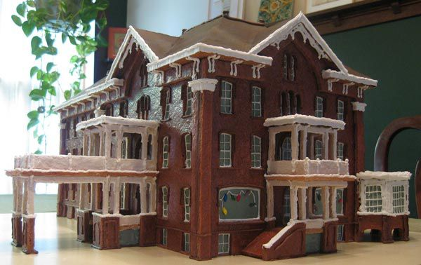 Gingerbread hotel with two entrances.