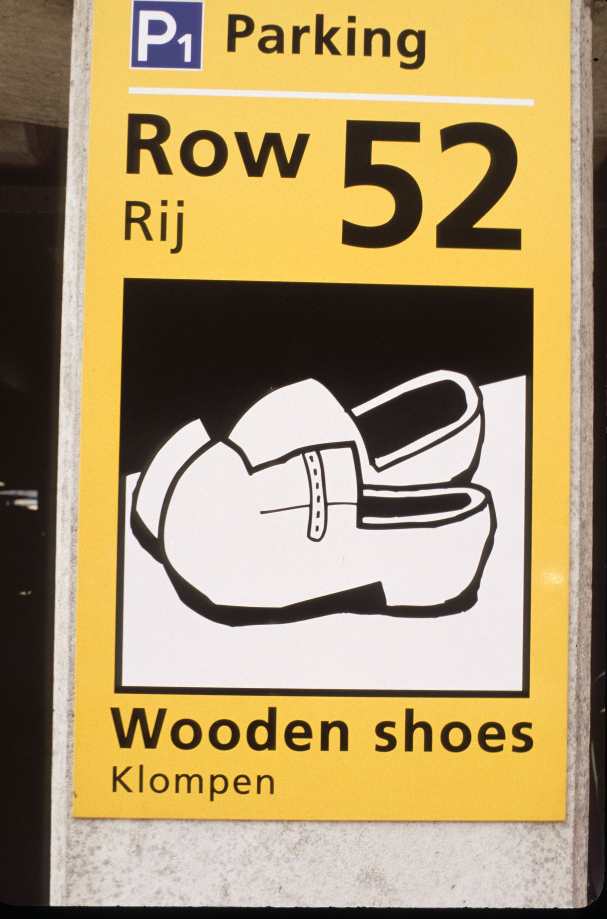 Netherlands, Schiphol Airport, Parking Sign, Wooden Shoes. (Photo by Education Images/UIG via Getty Images)