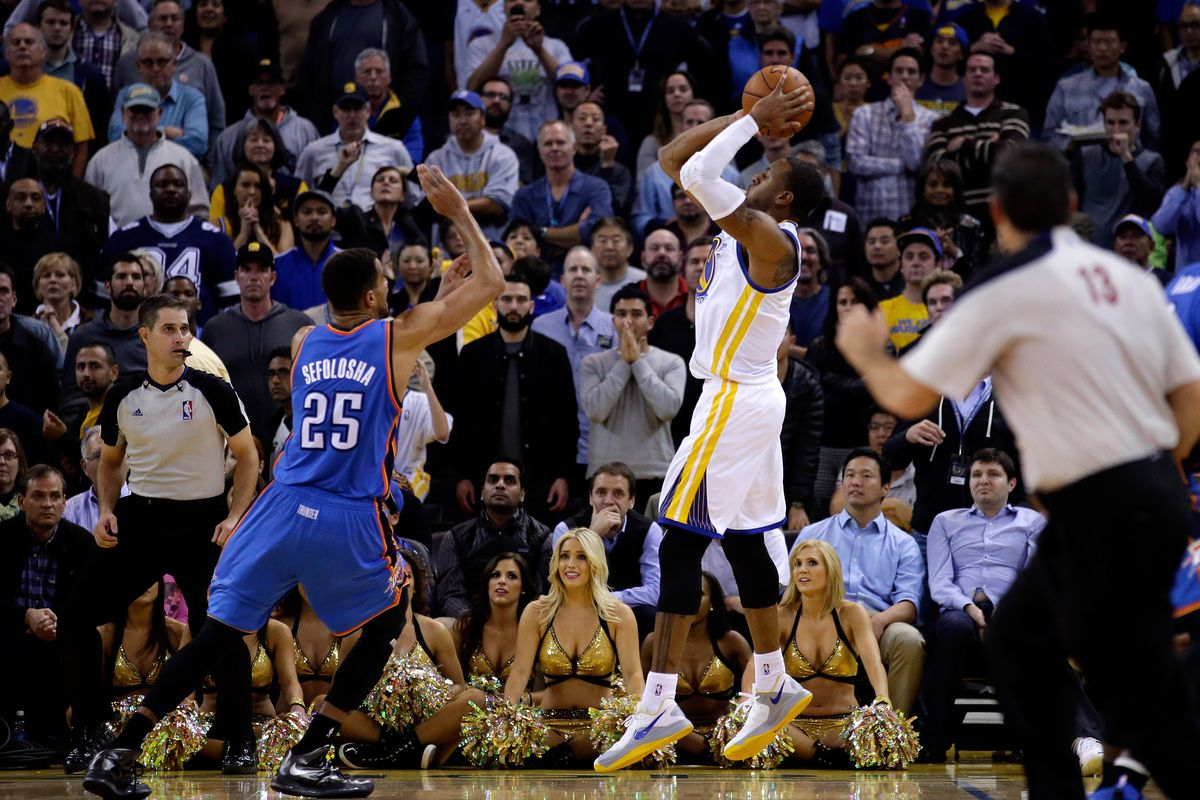 Andre Iguodala beating the buzzer and the Thunder with one fell swish.