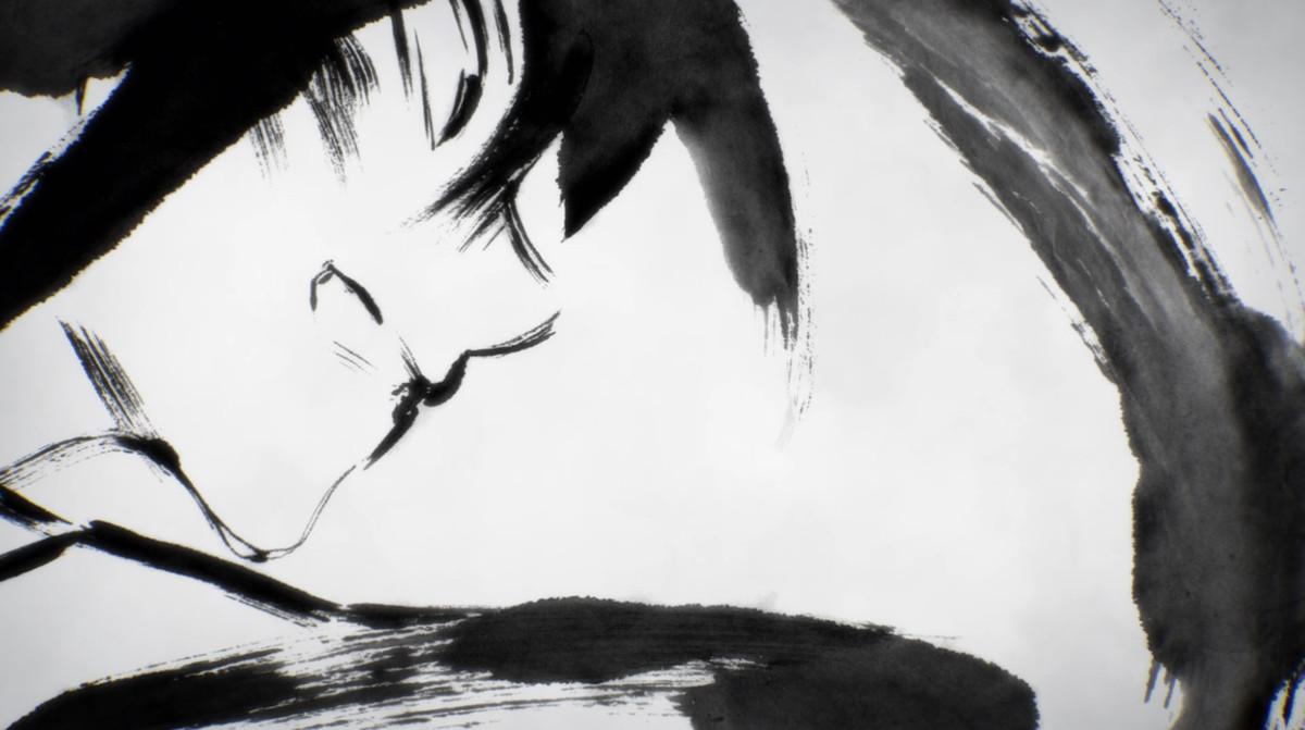 a shot rendered in black ink