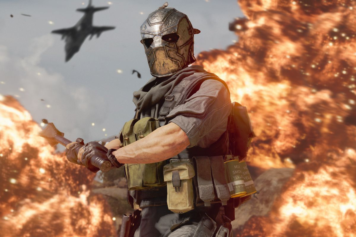 A Call of Duty: Warzone player charges into battle  with a mace