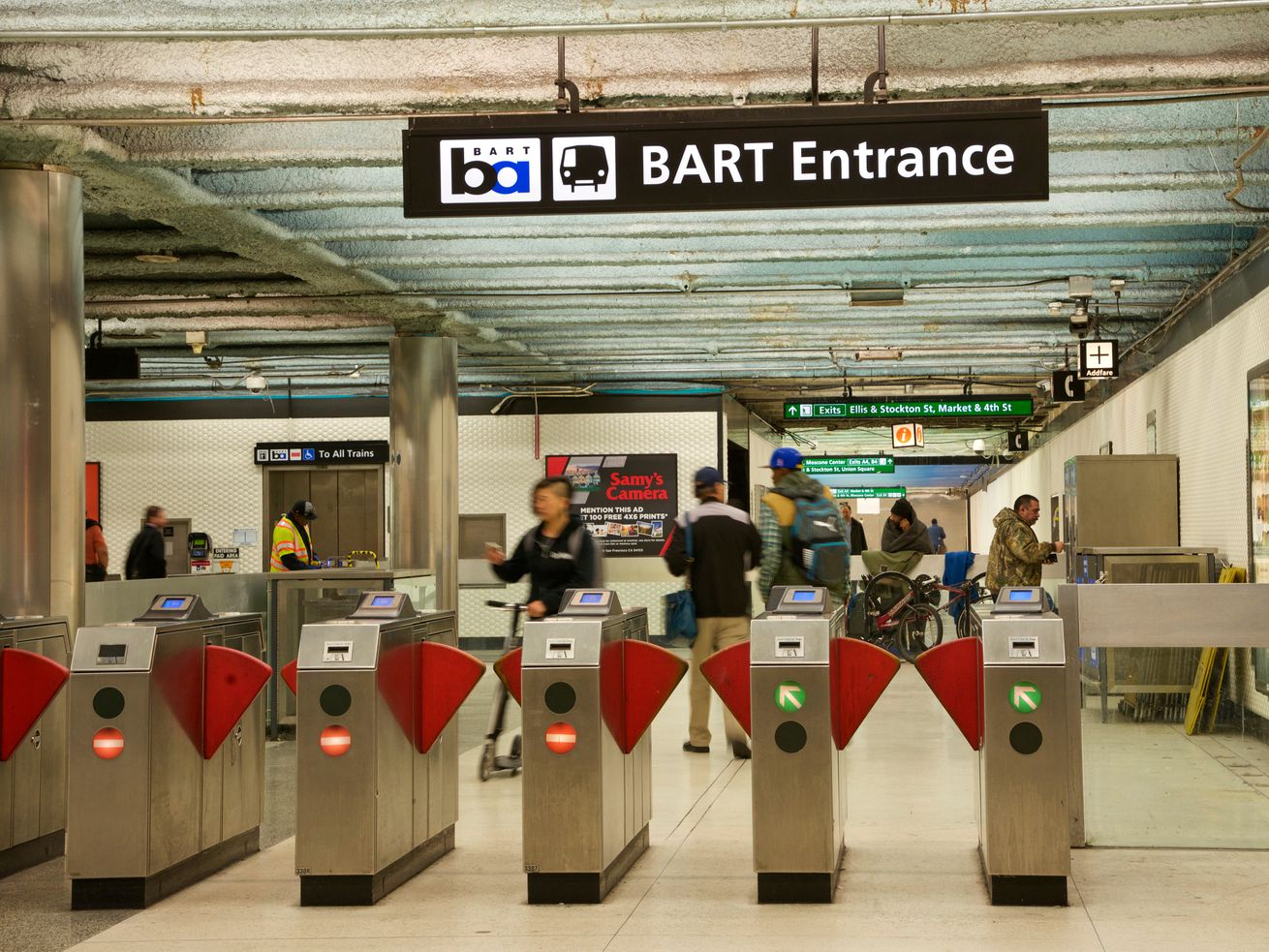 Entrance gates to Powell Street BART Station where Clipper cards are used to enter and exit.