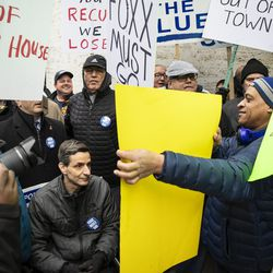 Ald. Nicholas Sposato (38th) spars with counter-protesters during a Fraternal Order of Police protest. | Ashlee Rezin/Sun-Times