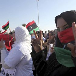 Libyan women protest against Ansar al-Shariah Brigades and other Islamic militias in front Tebesty Hotel, in Benghazi, Libya, Friday, Sept. 21, 2012. The attack that killed the U.S. ambassador and three other Americans has sparked a backlash among frustrated Libyans against the heavily armed gunmen, including Islamic extremists, who run rampant in their cities. More than 10,000 people poured into a main boulevard of Benghazi, demanding that militias disband as the public tries to do what Libya's weak central government has been unable to.