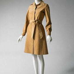 """""""In contrast, we have Halston, who is more unisex in his approach, and takes a menswear element and adapts it to a woman's body. In the front, we have an ultrasuede shirt dress (pictured), Halston's most successful item. It sold millions and millions of c"""