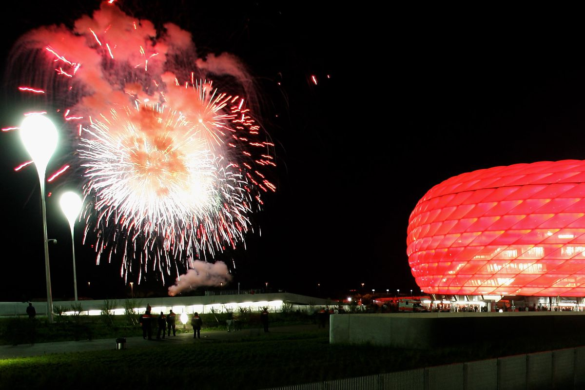 MUNICH, GERMANY - MAY 31: A general view of the Allianz Arena with fireworks during the opening game of the Allianz Arena between Bayern Munich and German Football National Team at the Allianz Arena on May 31, 2005 in Munich, Germany.