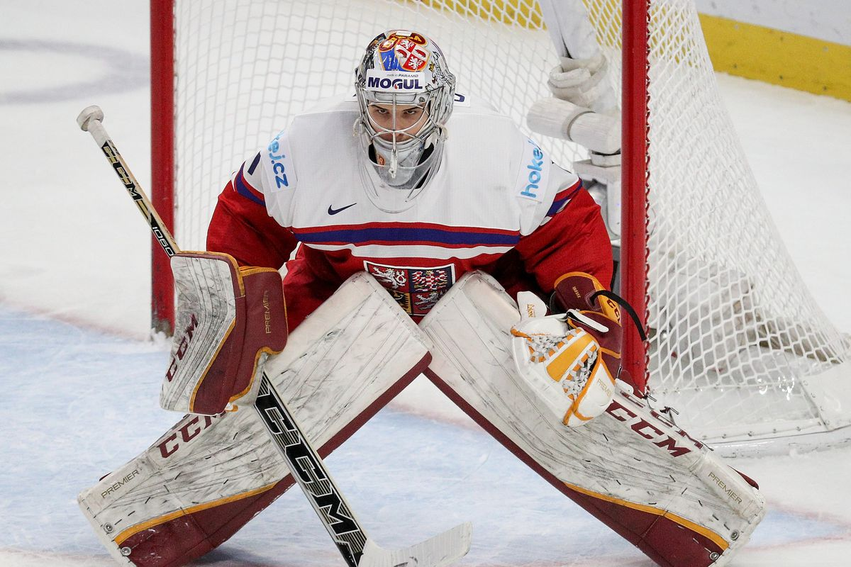 Josef Korenar #30 of Czech Republic defends his net against the United States during the second period of play in the IIHF World Junior Championships Bronze Medal game at KeyBank Center on January 5, 2018 in Buffalo, New York.