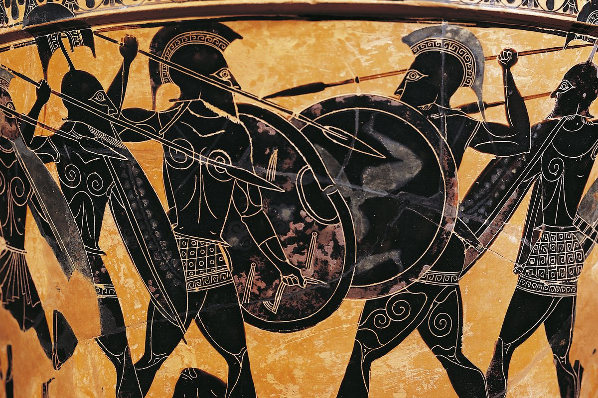 Possibly from the 6th century BC, this pottery shows a battle full of impressive ab-accentuating armor.