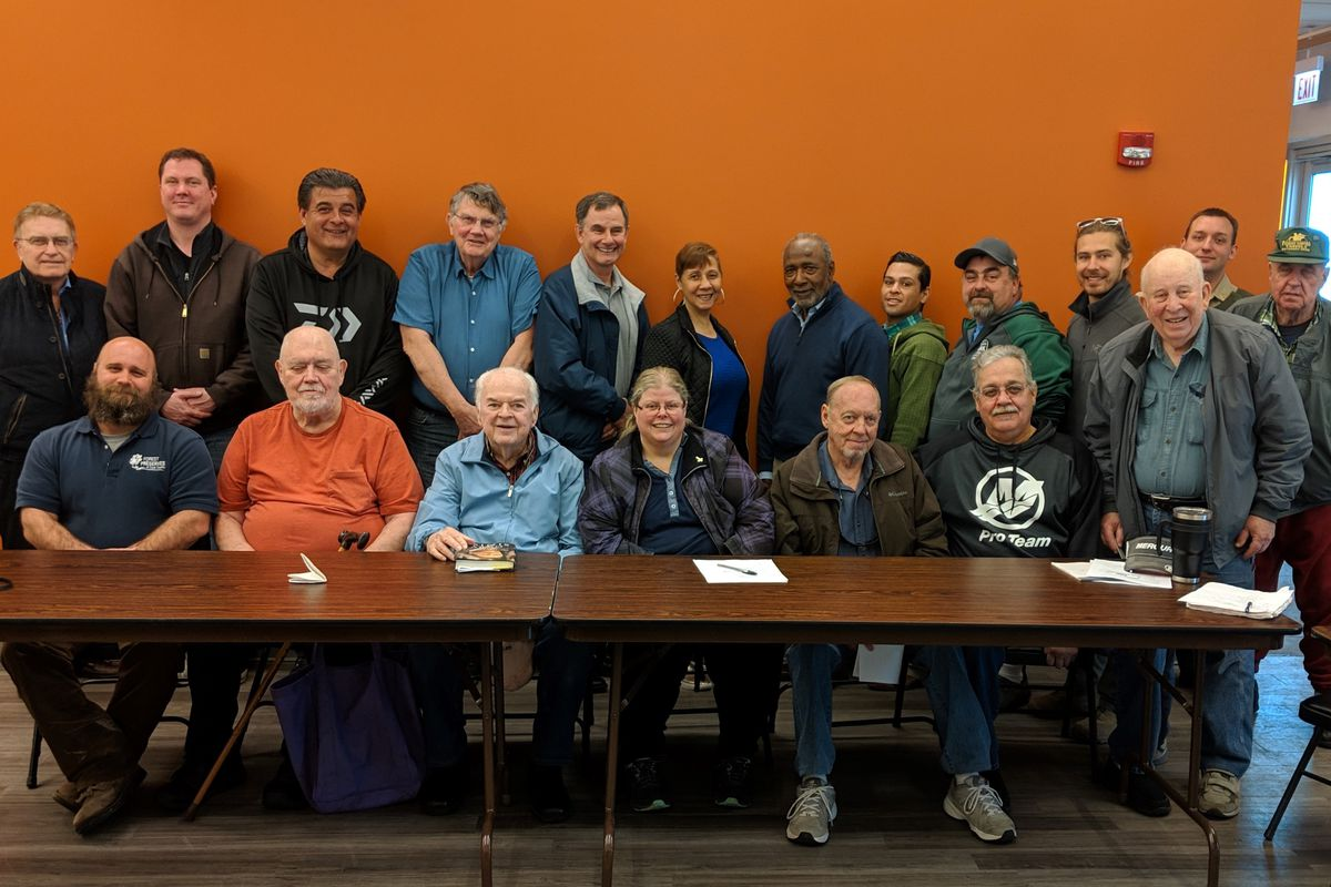 File photo from April 2019 of the Chicago's Fishing Advisory Committee; Tom Gray is sixth from right in the back row. Credit: Dale Bowman