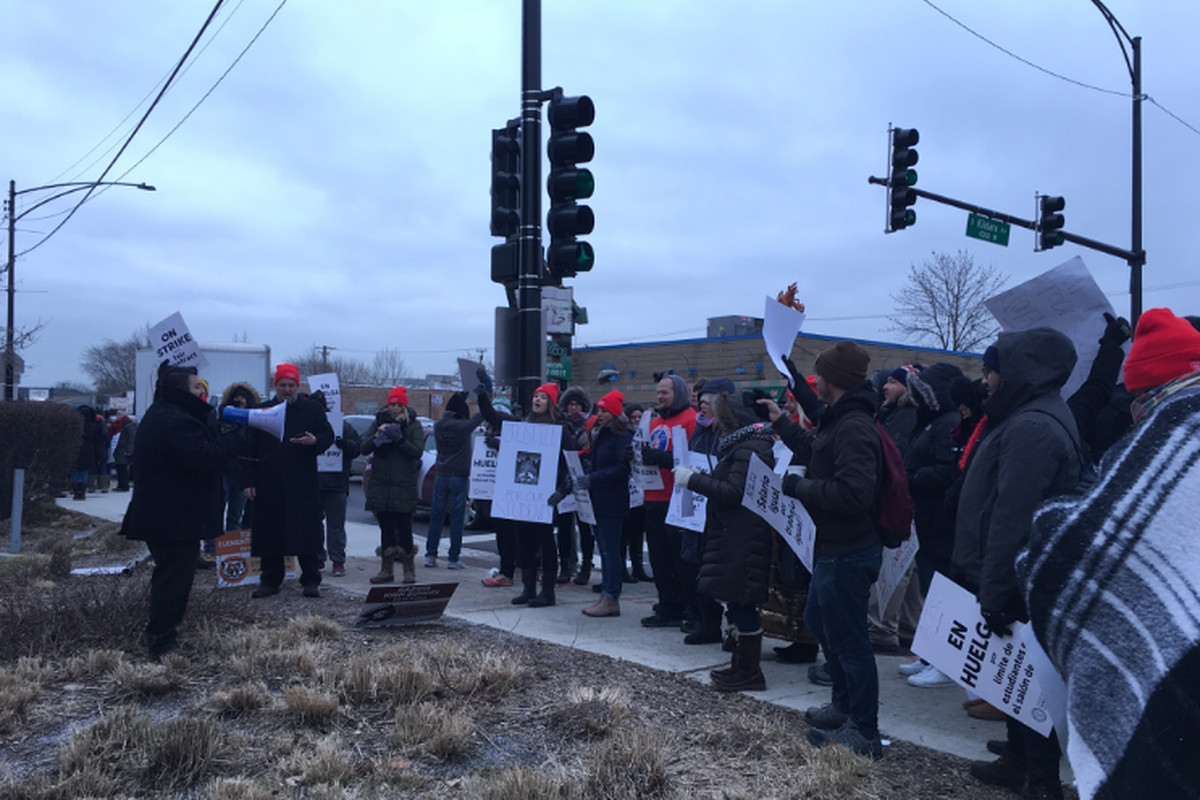 Striking Acero educators at a rally on Tuesday.