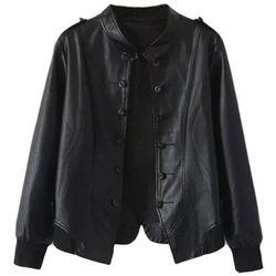 """<b>Romwe</b>, <a href=""""http://www.romwe.com/split-sheer-black-pu-jacket-p-92869.html"""">$45</a>"""
