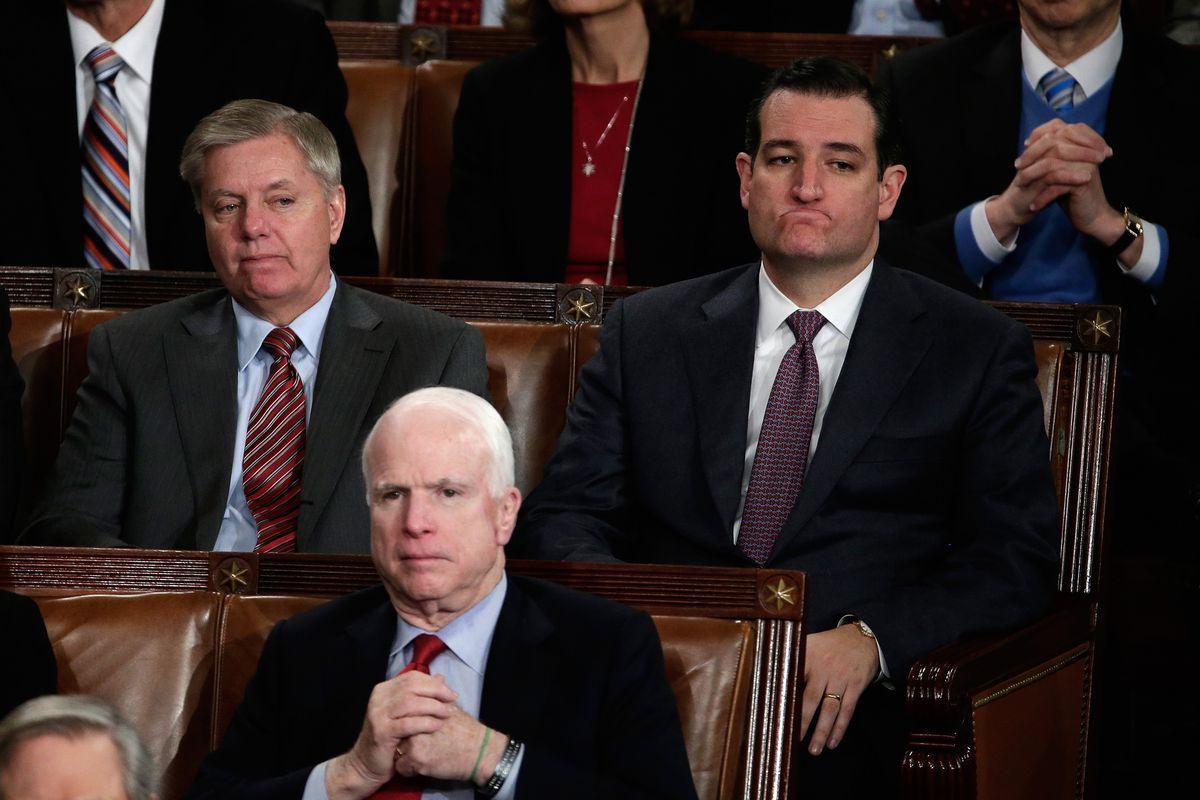 Senators Lindsey Graham, John McCain, and Ted Cruz.