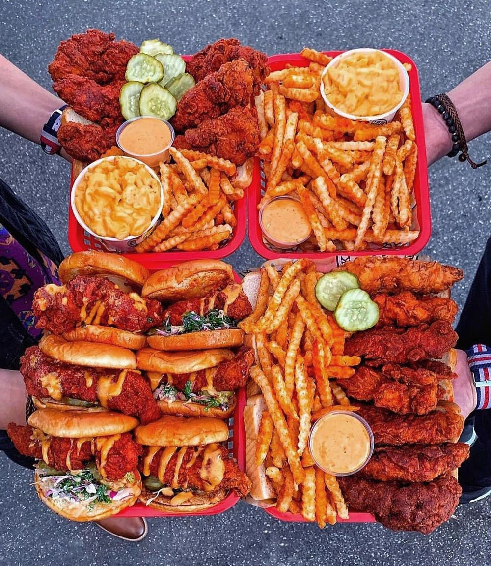 Hot chicken tenders and sliders, plus fries and mac & cheese sides from Dave's Hot Chicken.