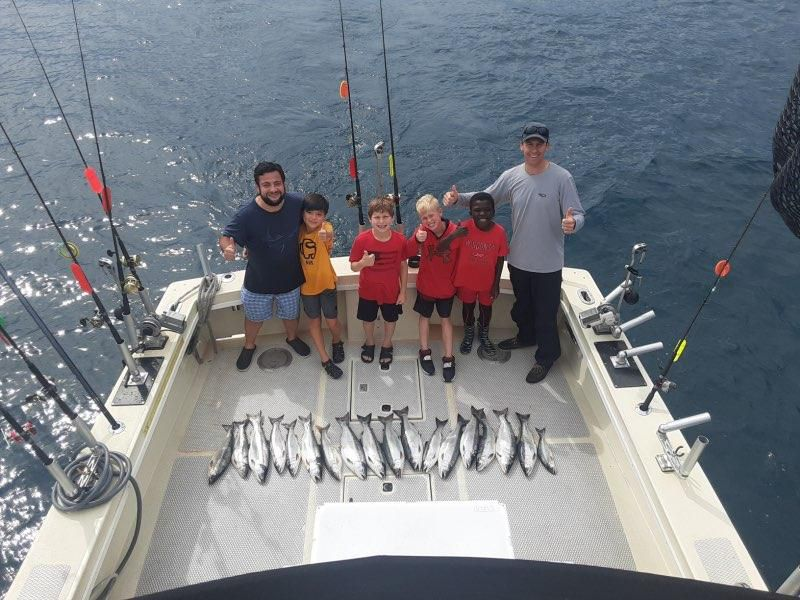 """Capt. Tim Frey and """"Bluegill Bill"""" led a very successful morning Tuesday with a young group on the Massive Confusion out of Chicago. Provided by Confusion Charters"""