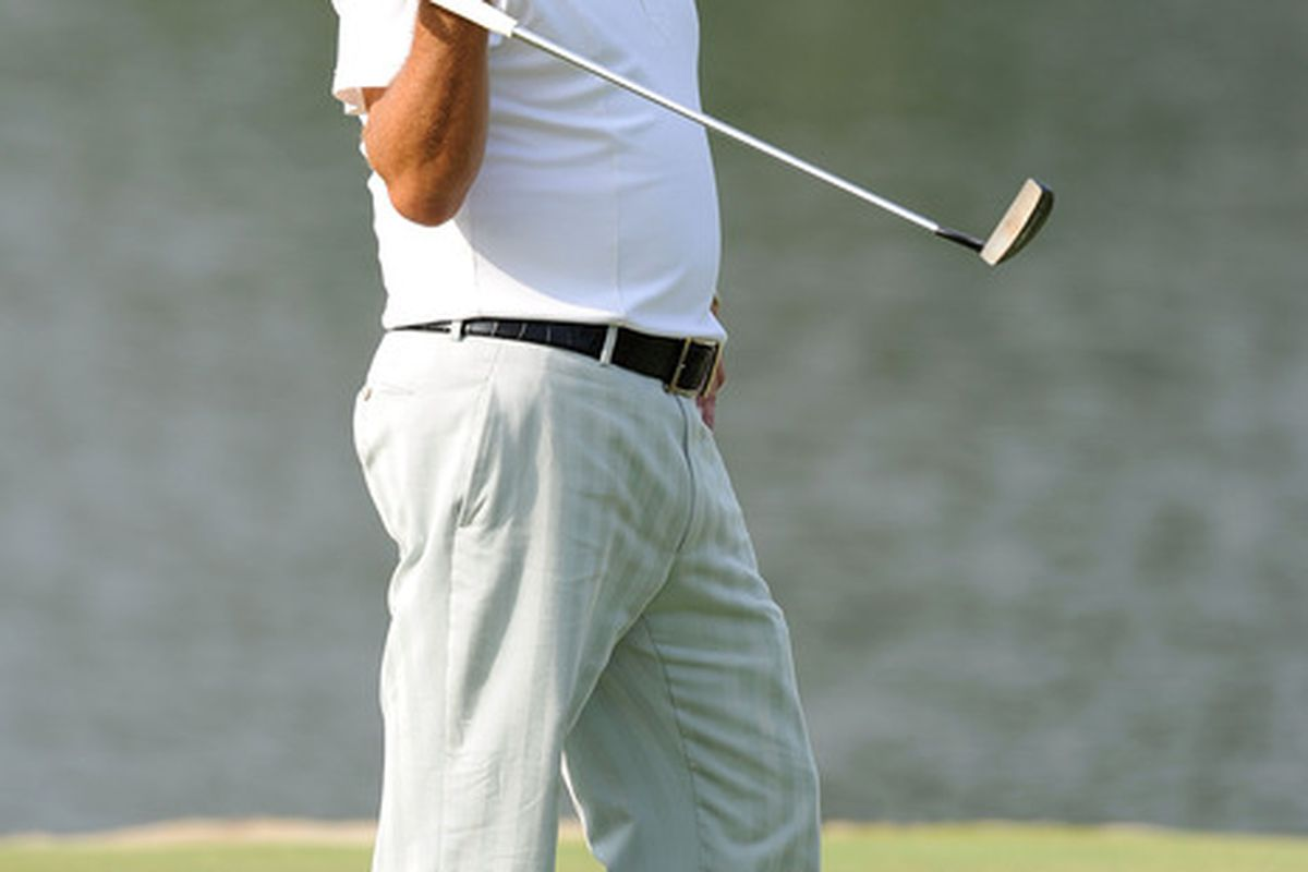 JOHNS CREEK, GA - AUGUST 09:   Phil Mickelson  looks over a green during a practice round prior to the start of the 93rd PGA Championship at the Atlanta Athletic Club on August 9, 2011 in Johns Creek, Georgia.  (Photo by Stuart Franklin/Getty Images)