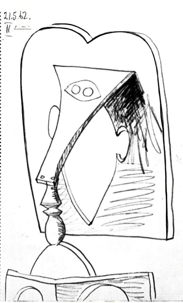 """""""Head of a Woman,"""" a 1962 pencil sketch by Picasso — clearly a forerunner of his Chicago sculpture, designed in 1966."""