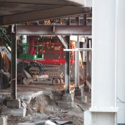 Welding work along the west side of the lower concourse