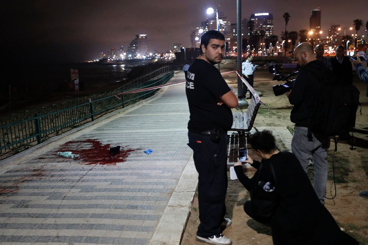 The aftermath of the attack in Jaffa.