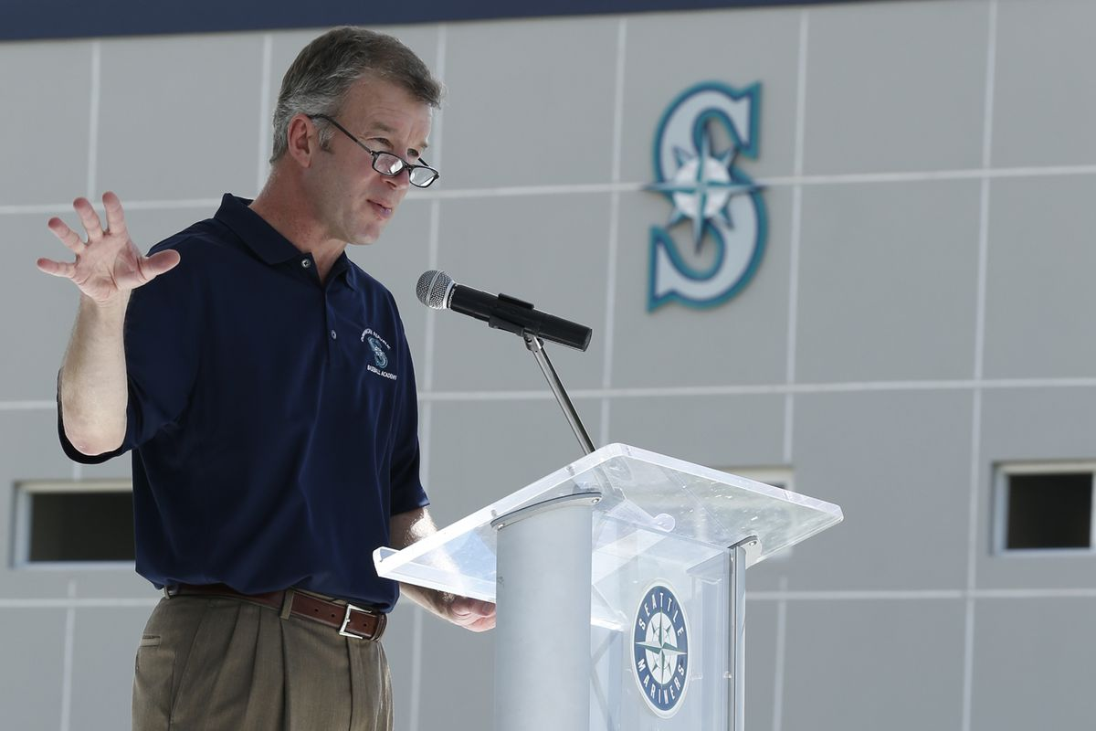 Mariners president Kevin Mather speaks at the grand opening of the team's facility in the Dominican Republic. Credit: Seattle Mariners
