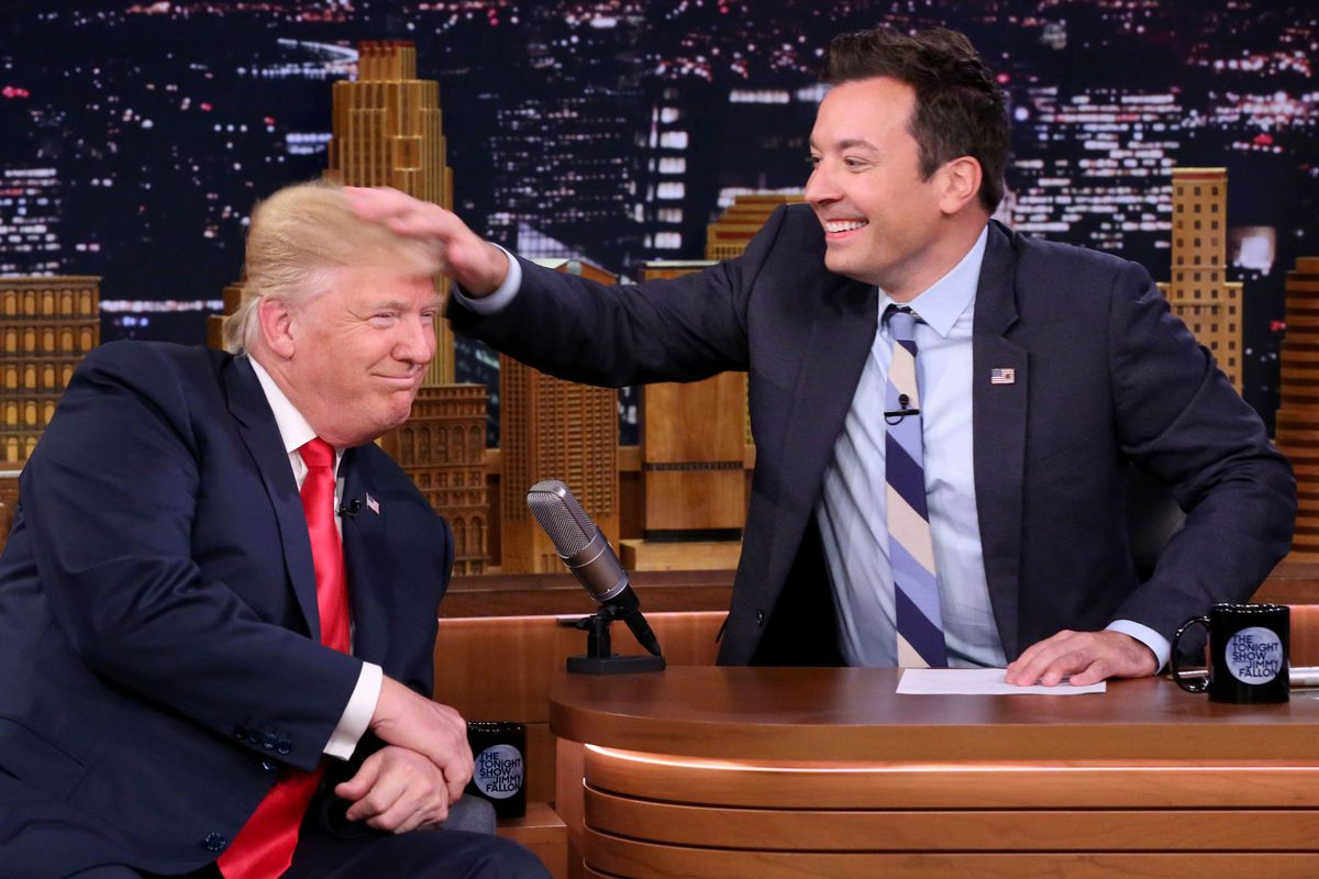 Jimmy Fallon Is Sorry Not Sorry About Ruffling Donald Trumps - Trump hair us map