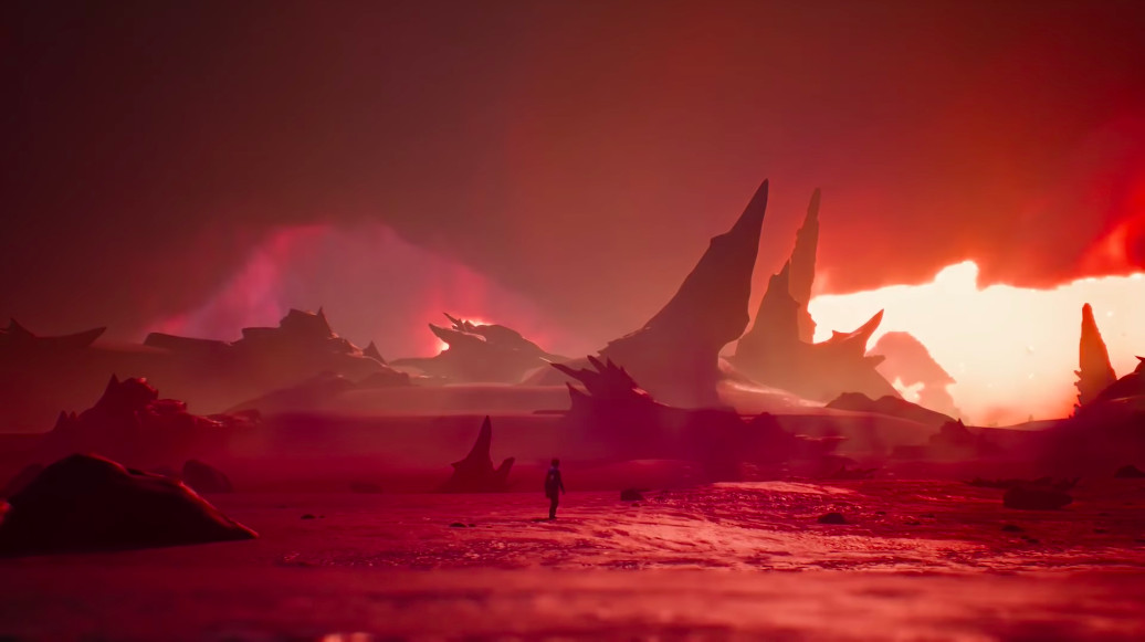"""A screenshot of a climactic moment that finds Captain Spirit on a red, desert-like """"planet"""" where his enemy Mantroid lives."""