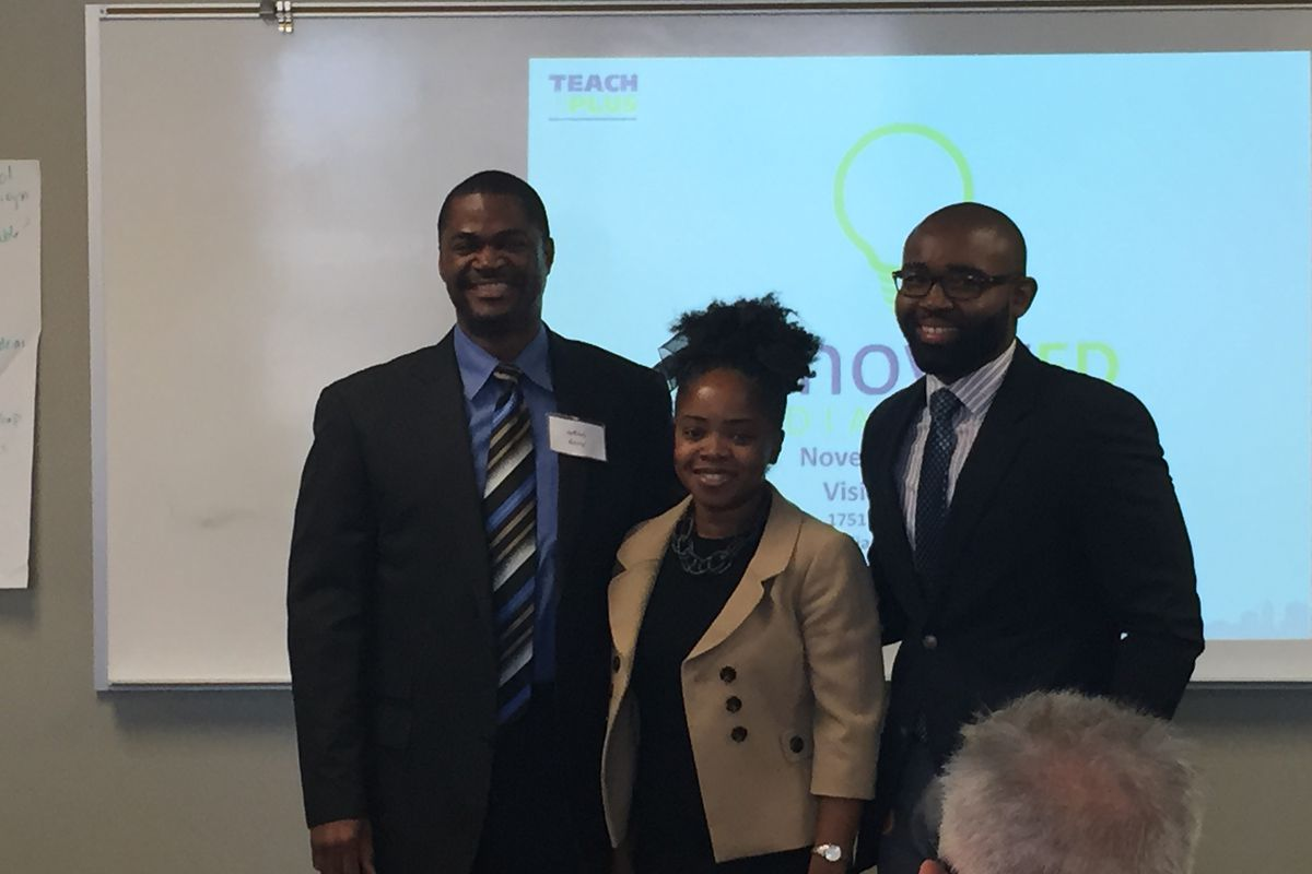 Jeffrey Berry, Tiffany Thomas and Darius Sawyers receive applause after being named as winners at Teach Plus' InnovatEd conference.