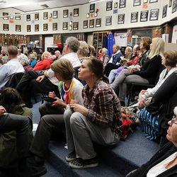 Voters choose county delegates during a Utah Republican caucus at Brighton High School in Salt Lake City on Tuesday, March 22, 2016.