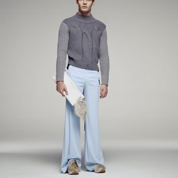 Baby blue-hued trousers that look super comfy.