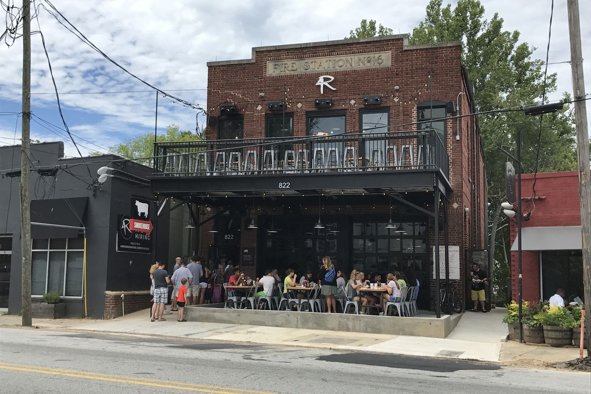 Firetruck bays have been swapped for multi levels of patio seating on Marietta Street.