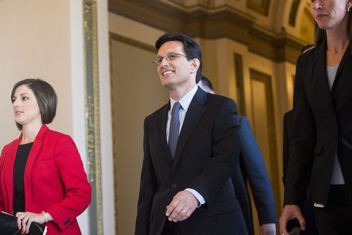 Eric Cantor after his farewell address, July 31.
