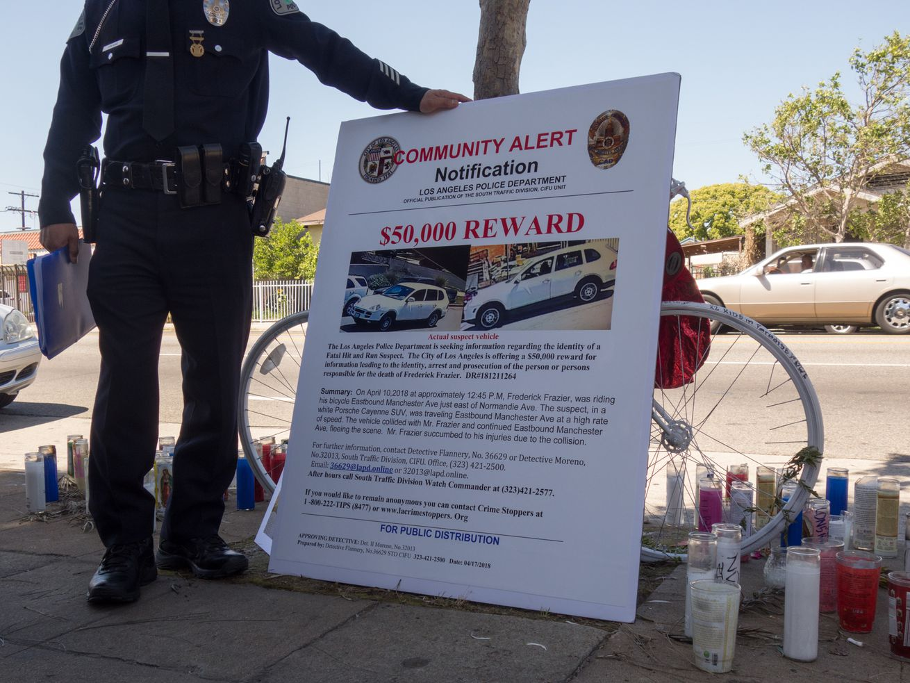 LAPD is offering a $50,000 reward for information leading to the arrest of the driver who struck and killed Frederick Frazier.