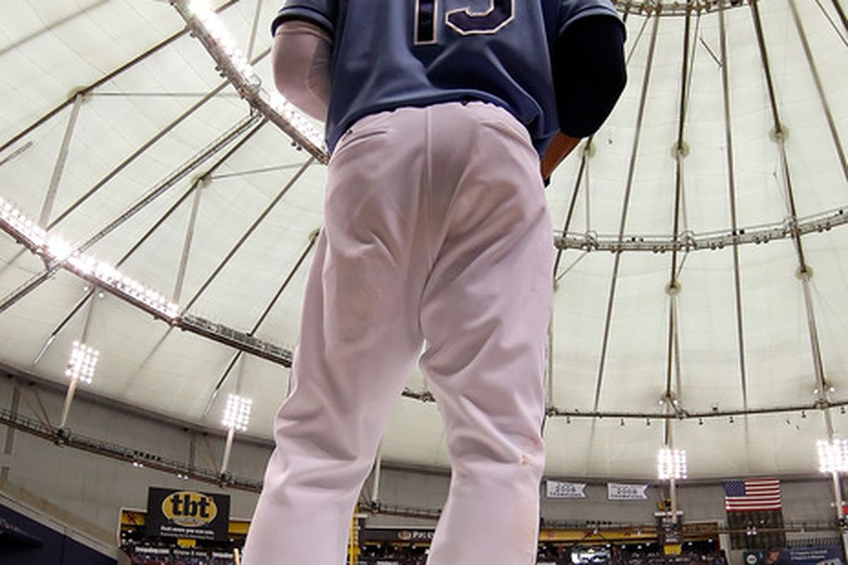Sadly, it's sinking in that the next time we see Carl Crawford under the catwalks at the Trop, he probably won't be wearing this uniform.  (Photo by J. Meric/Getty Images)