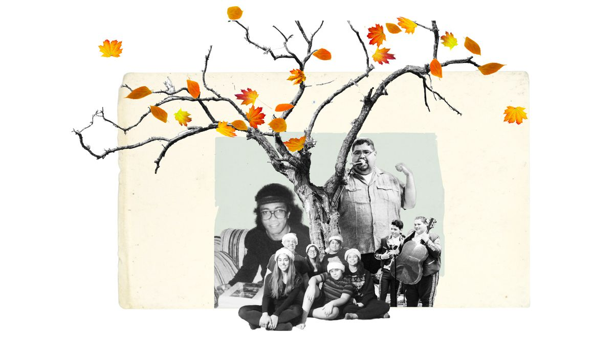 Photo collage of people under a tree with a few falling leaves.