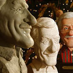 Actor Dick Van Dyke is the model for the toymaker in the book. His image started with a clay model, then went to a plaster model with markings used to digitize his face onto a computer image, and finally a finished display piece.