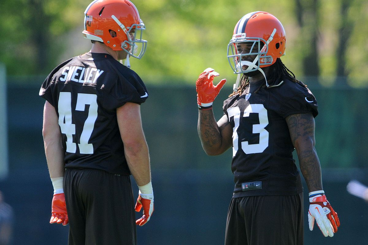 May 11, 2012; Berea, OH, USA: Cleveland Browns fullback Brad Smelley (47) talks with running back Trent Richardson (33) during rookie training camp at the Cleveland Browns training facility.  Mandatory Credit: Eric P. Mull-USPRESSWIRE