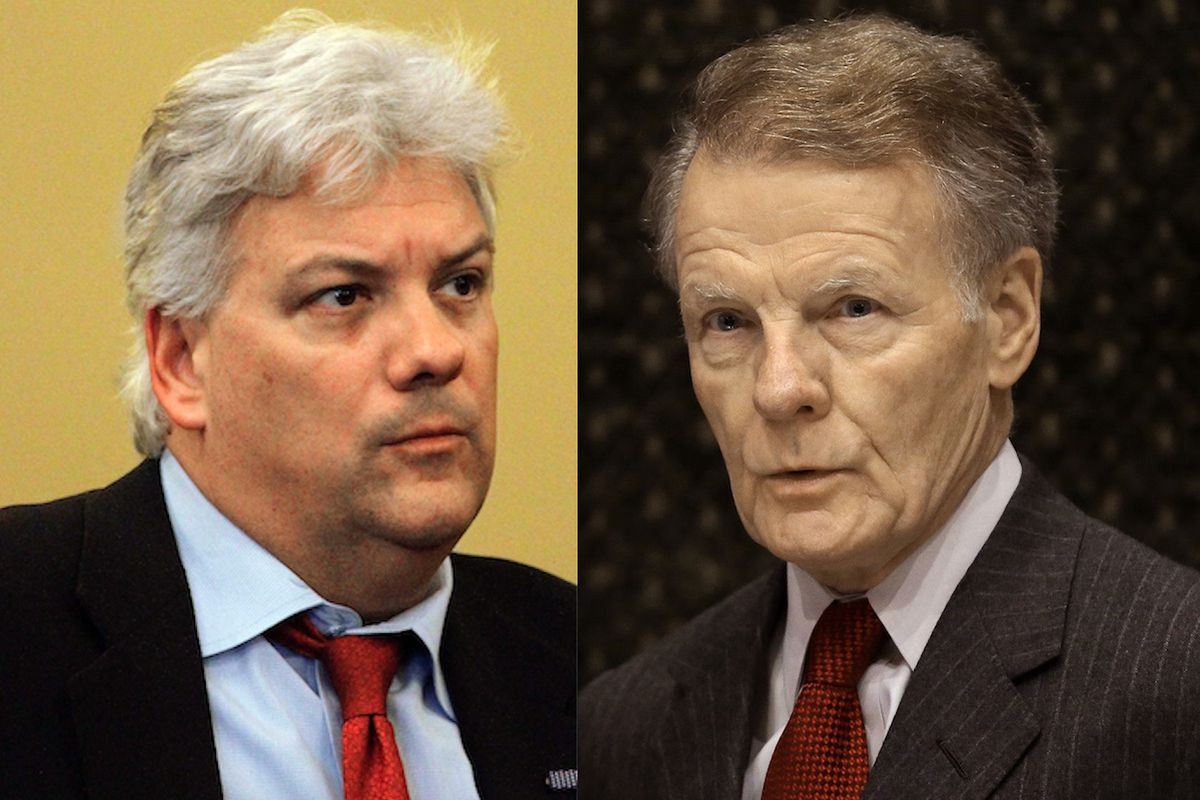 Then state Rep. Jack Franks, D-Woodstock, (left) in 2012; House Speaker Mike Madigan (right) in 2016.