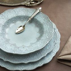 Material Possessions - Merletto Aqua Dinnerware (Starting at $20)