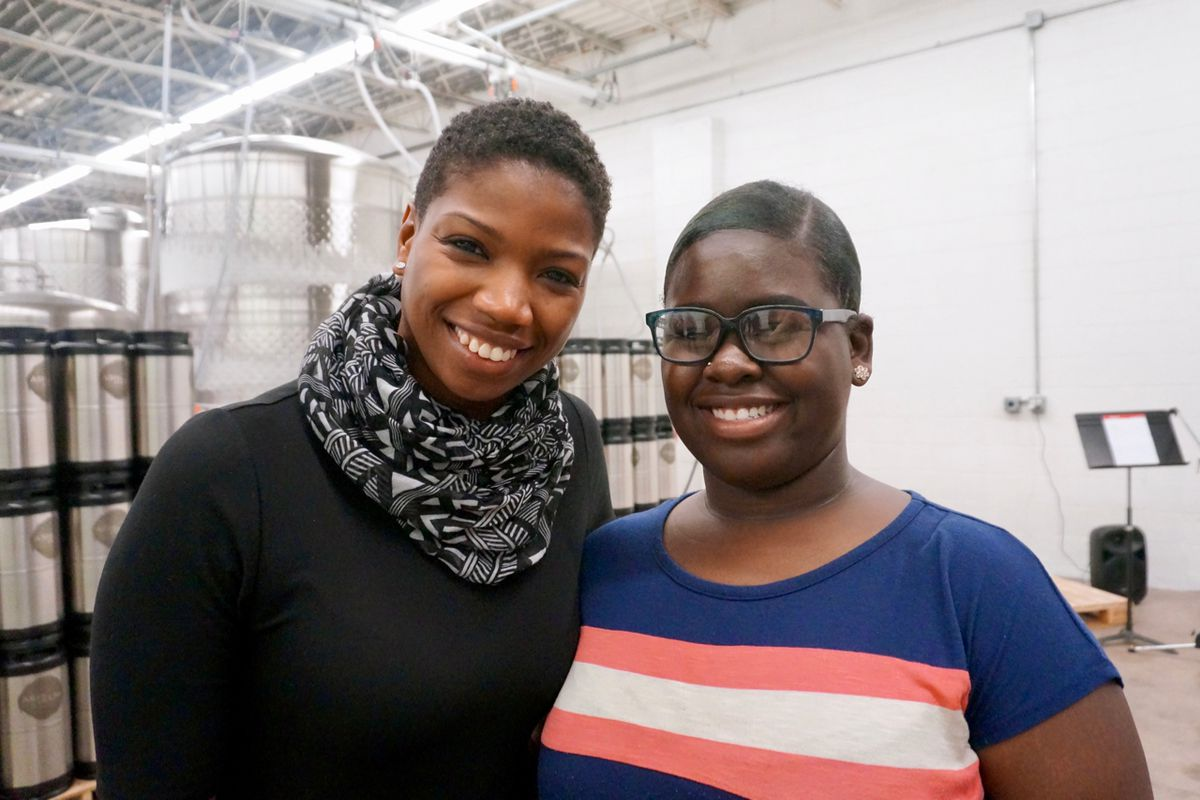 KIPP Indianapolis teacher Katie Johnson, left, with her former student Ronasiea Holland, a freshman at IUPUI.