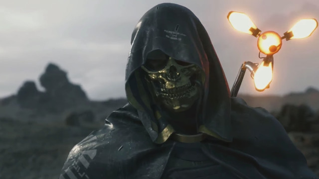 A man in a golden skull mask prepares to conjure a monster in Kojima Production's Death Stranding