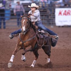 McKenna McAllister races towards the third barrel during the Utah High School Rodeo Finals in Heber City on Saturday, June 3, 2017.